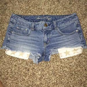American Eagle Denim Shorts W/ Star Pockets